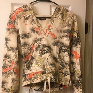 Lucky Brand Pullover Hoodie Floral Bird Print